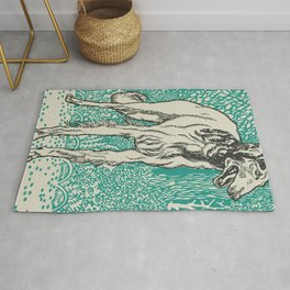 Vintage Retro Greyhound Woodcut Art Rug