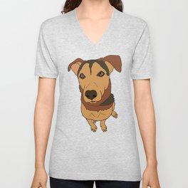 Happy Mutt Puppy Dog Illustrated Print Unisex V-Neck