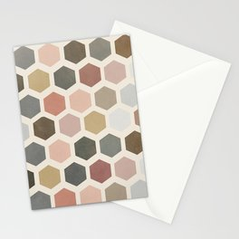 mod hive | organic honeycomb pattern in muted tones Stationery Cards