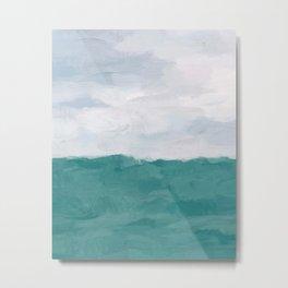 Aqua Turquoise Mint Waves Horizon Abstract Nature Ocean Painting Art Print Wall Decor  Metal Print