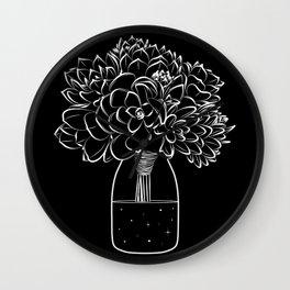 Succulents on a cosmic bottle black  Wall Clock