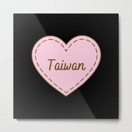 I Love Taiwan Simple Heart Design Metal Print