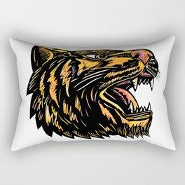 Growling Tiger Woodcut Rectangular Pillow