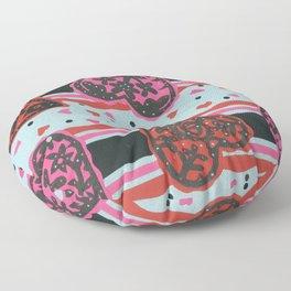 Floral Heart Papercut Stripe by  Nettwok2Design - Nettie Heron-Middleton Floor Pillow