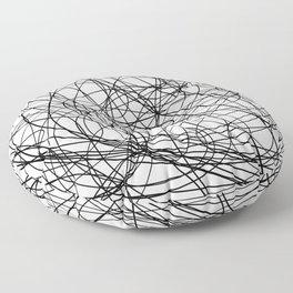 Black line doodle single line Floor Pillow