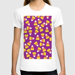 Candy Corn Jumble (purple background) T-shirt