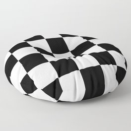 Traditional Black And White Chequered Start Flag Floor Pillow