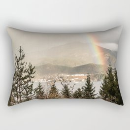 Rainbow In The Mountains | Lake In Norway Photo Art Print  | Travel Photography Rectangular Pillow