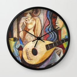 Mandolin and Female Mediterranean Musicians still life by Antonio Diego Voci Wall Clock