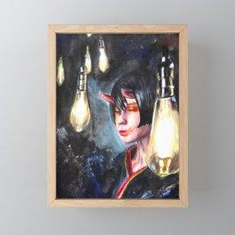 Hikari, Girl fantasy portrait with bulbs acrylic painting Framed Mini Art Print