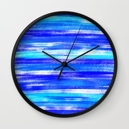 Blue and White Pastel Stripe Pattern Modern Abstract Wall Clock