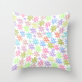 Blush pink blue purple watercolor hashtag pattern Throw Pillow