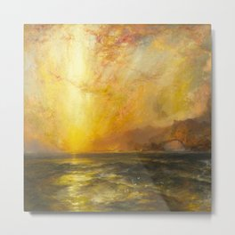 Golden Sunset and Sky over a Troubled Sea landscape painting by Thomas Moran Metal Print
