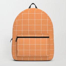 Tangerine Pastel Orange Grid Small Backpack