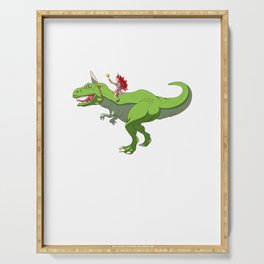 Girl Riding T-Rex With Unicorn Horn Fairy Fantasy Serving Tray