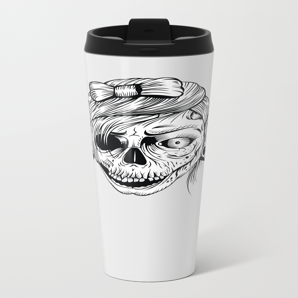 Pirate Zombie Girl - Tattoo, Zombie, Zombies, Apoc… Metal Travel Mug by Ink-addict MTM7656706
