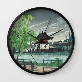 Kawase Hasui, Rain At Shinobazu Pond - Vintage Japanese Woodblock Print Art Wall Clock