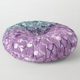 Mermaid Scales on Aqua Purple MERMAID Girls Glitter #2 #shiny #decor #art #society6 Floor Pillow
