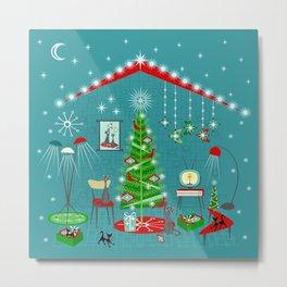 Retro Holiday Decorating iii Metal Print