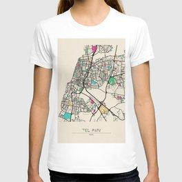 Colorful City Maps: Tel Aviv, Israel T-shirt