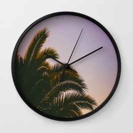Sunset Purple Palm Tree Circle Photo Wall Clock