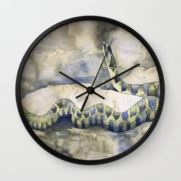 Northern Water Snake colorful watercolor painting- watercolor giclee prints Wall Clock