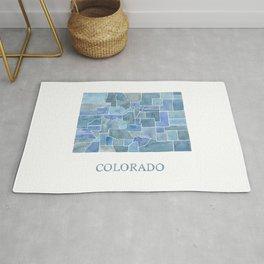 Colorado Counties BluePrint Watercolor Map Rug