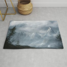 Snowy Mountains Landscape Painting 7 Rug