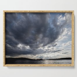 Dark Clouds Coming Over Lake In Scandinavia #decor #society6 #buyart Serving Tray