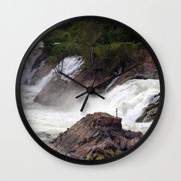 Mekong River Li Phi Waterfalls, Laos Wall Clock