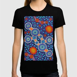 Authentic Aboriginal Art - The Journey Blue T-shirt