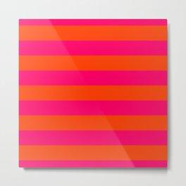 Bright Neon Pink and Orange Horizontal Cabana Tent Stripes Metal Print