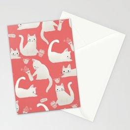 Bad White Cats Knocking Things Over Stationery Cards