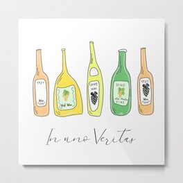 Light White. Wine proverb & pattern Metal Print