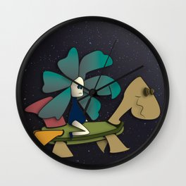 """""""Going to Unexpected Places with RoboTurtle"""" Flowerkid Wall Clock"""