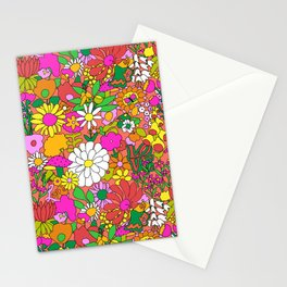 60's Groovy Garden in Neon Peach Coral Stationery Cards