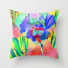 Fluorescent Watercolor Iris Art - Sun Yellow & Peach Throw Pillow