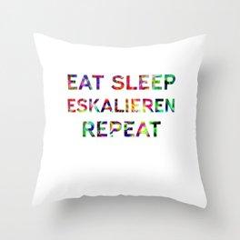 Eat Sleep Eskalieren Repeat Festival Techno Throw Pillow