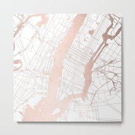 New York City White on Rosegold Street Map Metal Print