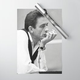 Johnny Cash Smoking, Music Print, Country Legend, Vintage photography, gift for him, Johnny Cash print, Johnny Cash poster, Johnny Cash art Wrapping Paper