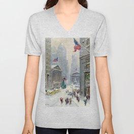 Broad Street to Wall Street, New York City landscape painting by Guy Carleton Wiggins Unisex V-Neck