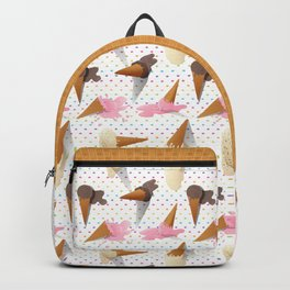 Dropped Ice Cream Cones Polka Dots Pattern Backpack