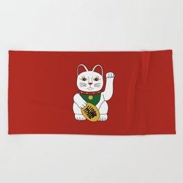 Maneki Neko - lucky cat - red Beach Towel
