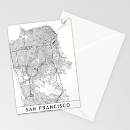 San Francisco White Map Stationery Cards