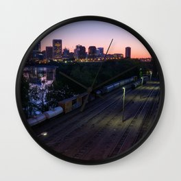 City Sunrise Over The Trainyard Wall Clock