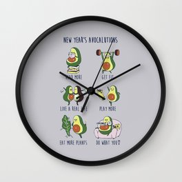 New Year's Resolutions with Avocado Wall Clock