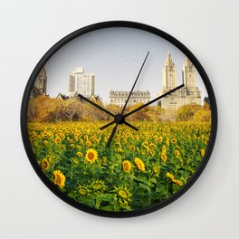Central Park Sunflower Field Collage Wall Clock