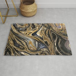 Black and Gold Liquid Marble Rug