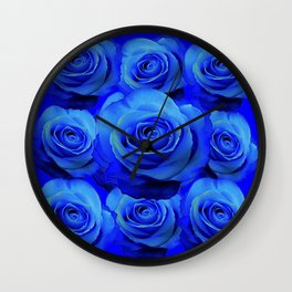 AWESOME BLUE ROSE GARDEN  PATTERN ART DESIGN Wall Clock