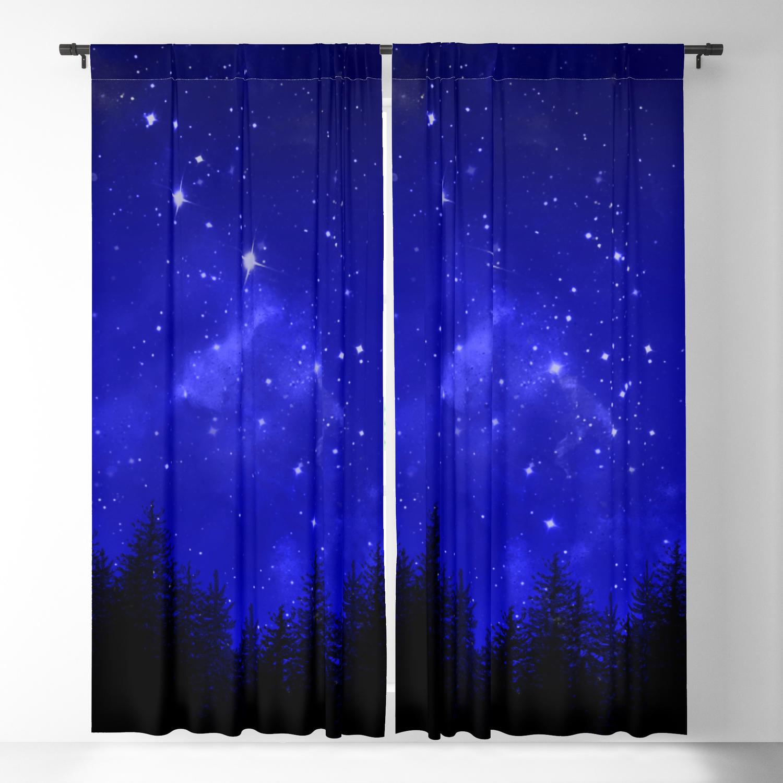 Blue Galaxy Forest Night Sky Blackout